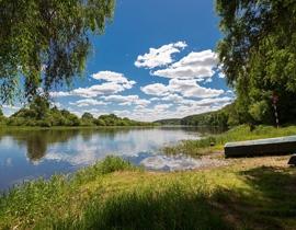 Fishing spot on the river Berezina.